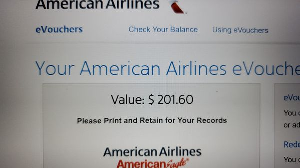 American airlines e voucher for 170 usd worth 201 usd
