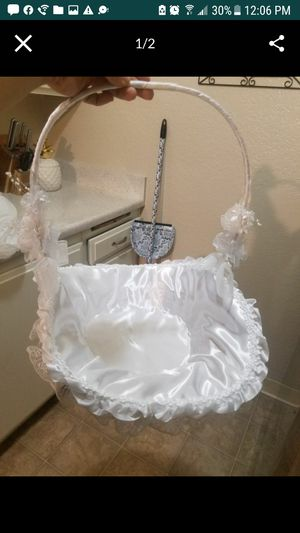 white satin flower girl basket for Sale in Covina, CA