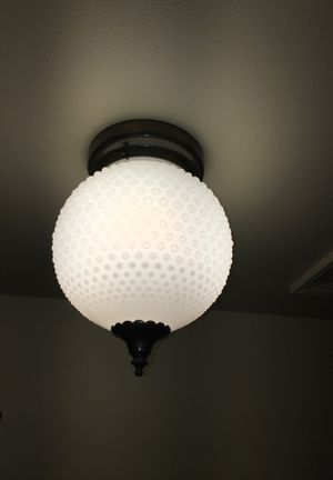 Vintage opaque Milkglass white ceiling light fixture brass for Sale in Mercer Island, WA