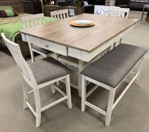 BRAND NEW IN BOX 6-PC RUSTIC BARN DINING TABLE W/ 4 CHAIRS & BENCH for Sale in Houston, TX