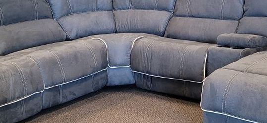Fabric Reclining Sectional-Steel Blue for Sale in St. Louis,  MO
