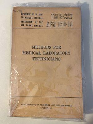 Methods For Medical Laboratory Technicians TM 8-227, AFM 160-14 1951 for Sale in Harrodsburg, KY