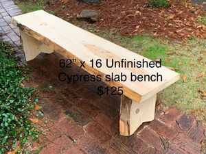 Cypress slab unfinished bench (62x16) for Sale in Lexington, SC