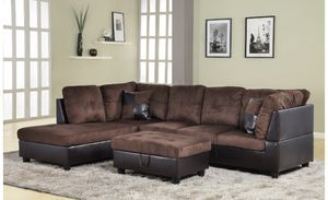 New chocolate microfiber sectional couch with storage ottoman for Sale in Renton, WA