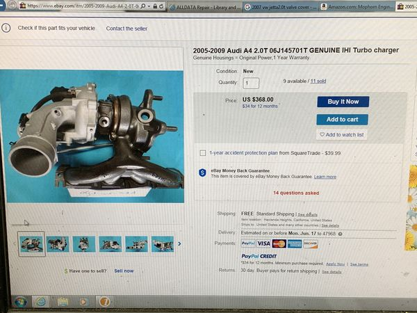 2005-09 Audi A4 2.0T Turbo Charger