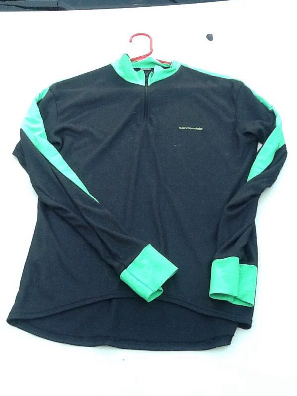 Vintage Cannondale black cycling jersey with green trim