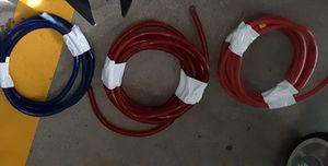 heavy duty car audio amp fuse box wire left in pic 4 ft ground wire the mid red wire in pic is 14 ft long amp power wire right red wire 9ft long for Sale in Tacoma, WA