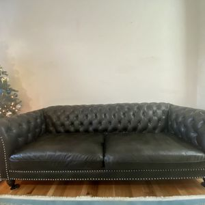 A Set Of Three Alsage Wide Faux Leather Rolled Arm Chesterfield Love Seat , Sofa And A Chair for Sale in Beaverton, OR