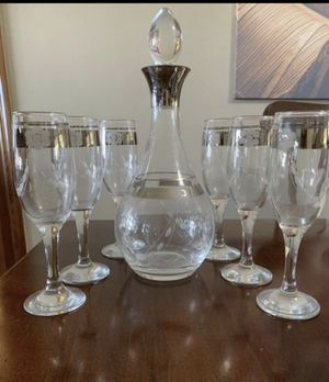 Imported from Turkey Wine whiskey spirits etched detail Decanter/ca rafe and 6 glasses for Sale in Miami, FL