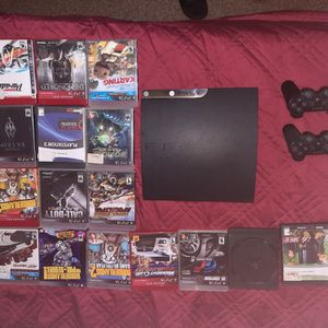 500 GB PS3 slim with 16 games and 2 controllers for Sale in Hollywood, FL