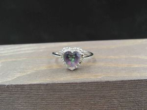 Size 6.75 Sterling Silver Mystic Quartz Heart Diamond Accent Band Ring Vintage Statement Engagement Wedding Promise Anniversary Cocktail for Sale in Lynnwood, WA