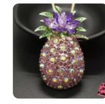 Betsey Johnson Purple Pineapple Rhinestones 3 D Necklace & Brooch for Sale in Macedonia,  OH