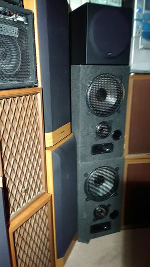 Massive speakers lot all boy 4 foot tall and 60 stereo receivers for Sale in Las Vegas, NV