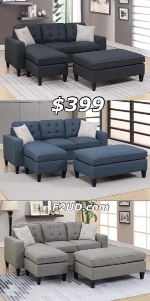 3 Colors Available - Black, Navy Blue, Grey Fabric Small Compact Reversible Sofa Sectional Couch & Ottoman for Sale in Orange, CA