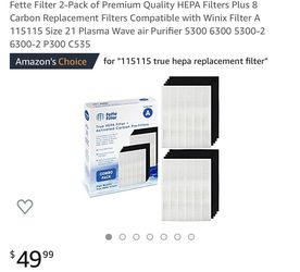 Fette Filter 2-Pack of Premium Quality HEPA Filters Plus 8 Carbon Replacement Filters Compatible with Winix Filter A 115115 Size 21 Plasma Wave air P for Sale in Bloomington,  CA