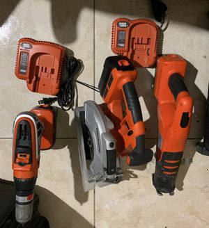 Black and Decker Storm Drill and Turns to Impact Drill, Circular Saw , Saw, all have Batteries and and 2 Fast chargers No Trades/ Pick Up Only for Sale in Lauderhill, FL
