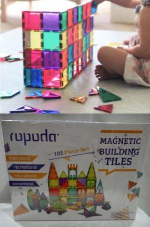 NEW IN BOX 102 PC Magnetic Clear Tiles Creative Building Engineering Builder Educational Tile Toy Set for Sale in Los Angeles, CA