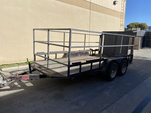14' Flatbed Car Hauler Utility Stakebed High Sides Trailer rear Ramp or Barn Door Swinging Tandem Axle Double 3500lb for Sale in Orange, CA