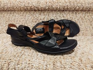 NEW Women's Size 8 CLARKS SHOES [Retail $124] LEATHER SANDALS, ORTHOLITE FOOTBED, All ADJUSTABLE, Extra Padded, Flexible, ALL-DAY WEAR for Sale in Woodbridge, VA