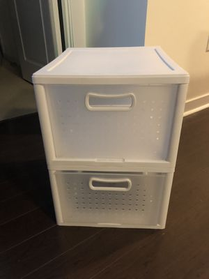 Stacking white storage bins, two pictured for Sale in Arlington, VA