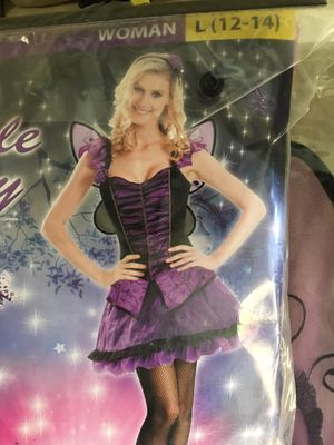 Women's large (12/14) purple fairy costume includes dress, headbands, wings for Sale in Stickney, IL