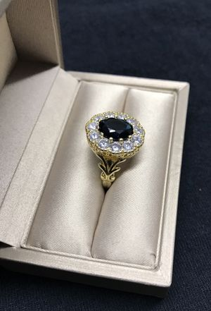 14k gold plated blue and white sapphire stone ring for Sale in Wood Dale, IL