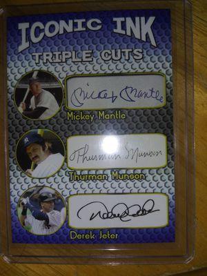 Signed baseball card Derek Jeter Mickey Mantle Thurman Monson for Sale in Palmetto, FL