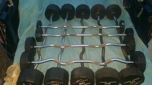Iron grip urethane fixed curl bars 20 30 50 60 70 80 90 100 110 & cybex rack My personal set $3800 almost $6000 new American Made for Sale in Deltona, FL