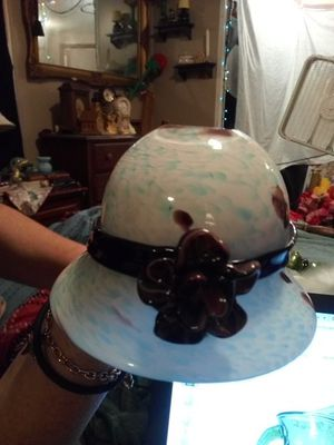 Glass hand-blown Margie's garden hat with flower collectible for Sale in Temple, GA
