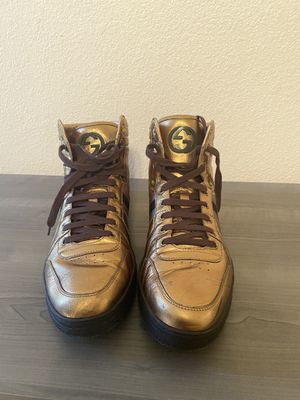Men's GG Gucci high top sneakers - exclusive gold edition for Sale in Mesa, AZ