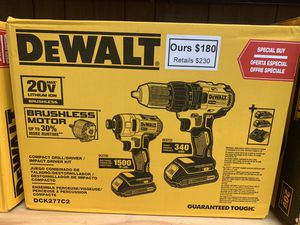 New Dewalt Brushless Drill/Driver Combo Kit. DCK277C2 for Sale in Newton, MA