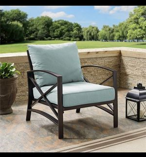 Crosley Furniture Kaplan Arm Chair In Oiled Bronze With Mist Universal Cushion Cover for Sale in Houston, TX