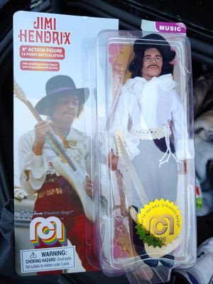 """JIMI HENDRIX 8"""" action figure by MARTY ABRAMS presents MEGO box is slightly opened !!! (noticed after i bought it) for Sale in Long Beach, CA"""
