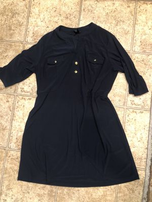 Navy dress with gold buttons size large for Sale in Manteca, CA