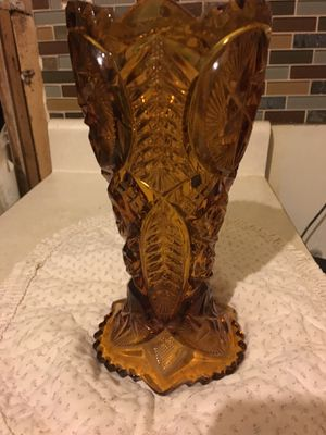 1960's Amber pressed cut glass vase for Sale in Cleveland, OH