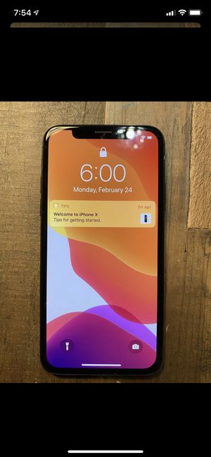 iPhone X 64GB T-Mobile clean icloud clean imei issue back glass is cracked for Sale in Cerritos, CA