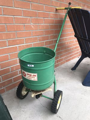 Spin on metal broadcast spreader antique for Sale in Houston, TX