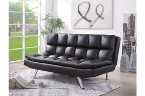 Brand new puffy black leather sofa futon for Sale in San Diego, CA