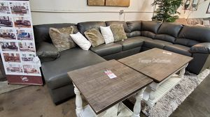 NEW IN THE BOX, LEATHER U SHAPED SECTIONAL, GREY. IN STOCK. for Sale in Westminster, CA