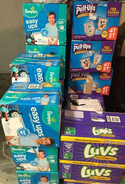 Pampers easy ups size 4t 5t 60 to 104 count easy ups size 4t 5t luvs diapers 92 count size 6 Attends pads and chucks for beds or pet needs for Sale in Philadelphia,  PA