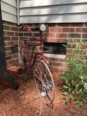 Red metal bike plant stand yard decor for Sale in Chesapeake, VA