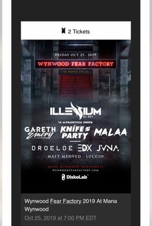 2 VIP TIER 2 tickets to Wynwood Fear Factory for Sale in Fort Lauderdale, FL