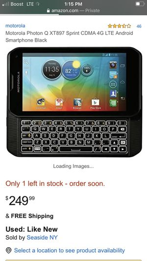 Motorola Photon Q XT897 Sprint CDMA 4G LTE Dual-Core Android Smartphone w/ Touchscreen + Slide-out Keyboard for Sale in Houston, TX