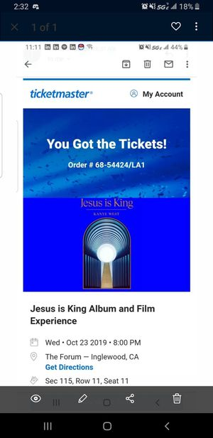 Selling 1 ticket to Jesus is King: Album and Film Experience by Kanye $75 for Sale in Calimesa, CA