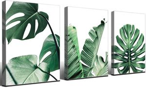 Set of 3 Canvas Wall Art Paintings Plants Green Leaf Prints Decor Office Bedroom Plants Artwork for Sale in Temple City, CA