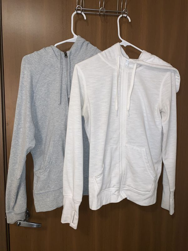 grey and white zip up jackets coats hoodies