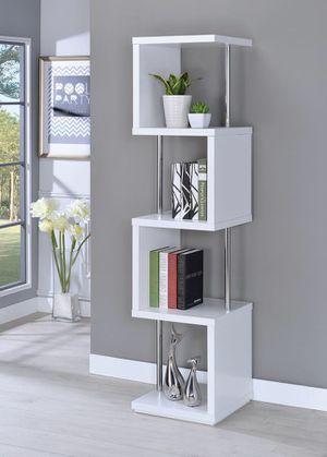 New White and Chrome Bookcase for Sale in Dallas, TX