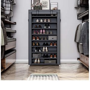 10 Tiers Shoe Rack with Dustproof Cover Closet Shoe Storage Cabinet Organizer Grey for Sale in Houston, TX