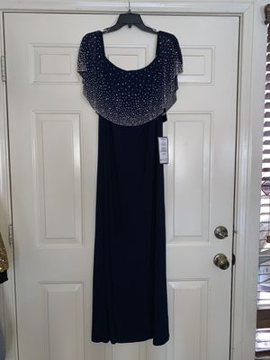 Gorgeous embellished navy blue Gown dress! Brand new never worn with tags size Large $40 for Sale in Henderson, NV
