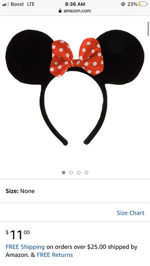 Minnie Mouse Ears Headband Black Red Polka Dot Bow Party Favors Disney Minnie for Sale in Bakersfield, CA